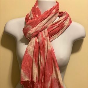 Pink/white w silver accent scarf